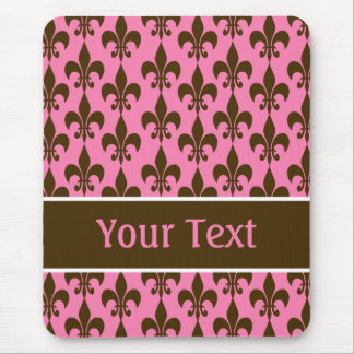 Mousepad Flor de lis personalizada Brown cor-de-rosa
