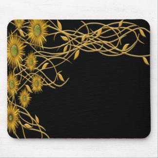 Mousepad Flor e videira amarelas douradas do Grunge