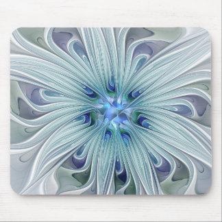 Mousepad Flor Pastel azul moderna do abstrato floral da