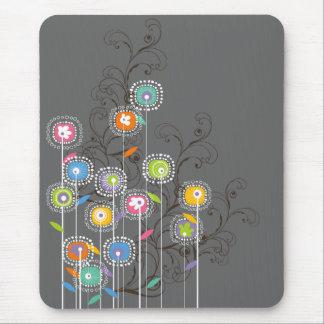 Mousepad Floral colorido lunático do jardim Groovy