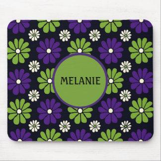 Mousepad floral verde e roxo personalizado