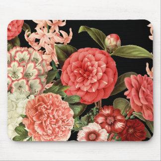 Mousepad flores cor-de-rosa botânicas do vintage moderno