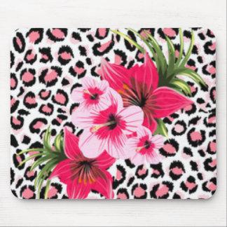 Mousepad Flores cor-de-rosa & design do impressão do teste