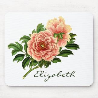 Mousepad Flores cor-de-rosa do Victorian & nome Monogrammed
