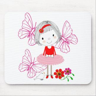 Mousepad Flores de borboleta lunáticas bonitos da menina