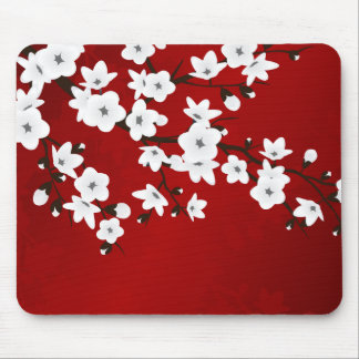 Mousepad Flores de cerejeira preto e branco vermelhas