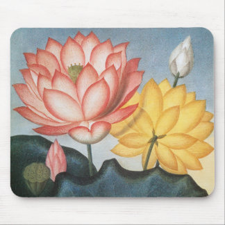 Mousepad Flores de Lotus do vintage com folhas em uma lagoa