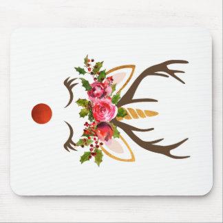 Mousepad Flores do Antler/Natal da rena do unicórnio