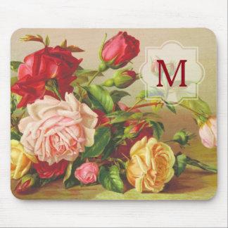 Mousepad Flores do buquê dos rosas do Victorian do vintage