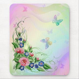Mousepad Flores e borboletas finas