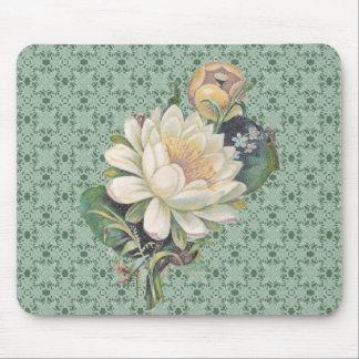 Mousepad Flores e vintage de creme do laço