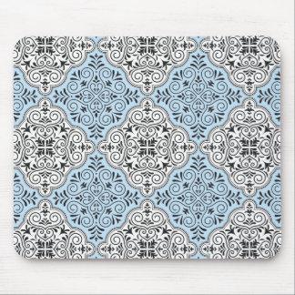 Mousepad Flourish Rococo azul do teste padrão