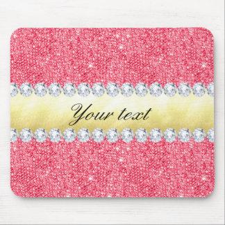 Mousepad Folha e diamantes cor-de-rosa de ouro dos Sequins