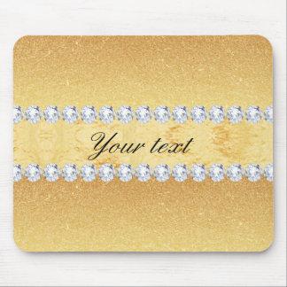 Mousepad Folha e diamantes elegantes do brilho do ouro