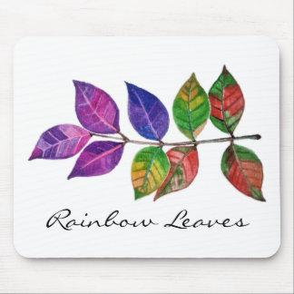 Mousepad Folhas do arco-íris da aguarela