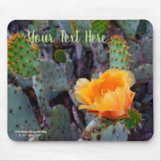 Mousepad Foto alaranjada da flor do cacto de pera espinhosa