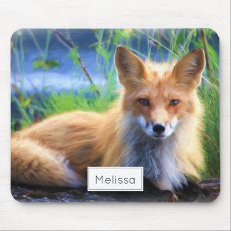 Mousepad Fox vermelho que coloca no cénico da grama
