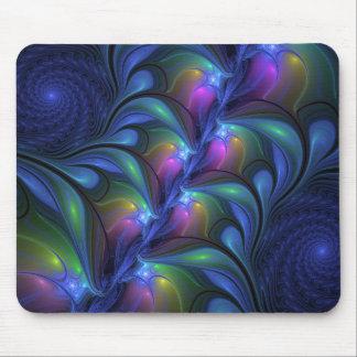 Mousepad Fractal verde cor-de-rosa azul abstrato luminoso