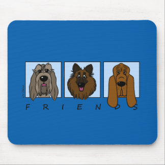 Mousepad Friends: Spinone Italiano, Tervueren, Bloodhound