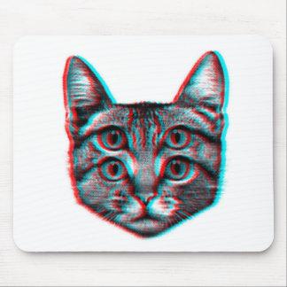 Mousepad Gato 3d, 3d gato, gato preto e branco