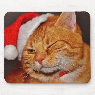 Mousepad Gato alaranjado - gato de Papai Noel - Feliz Natal