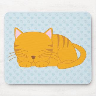 Mousepad Gato de gato malhado alaranjado do sono