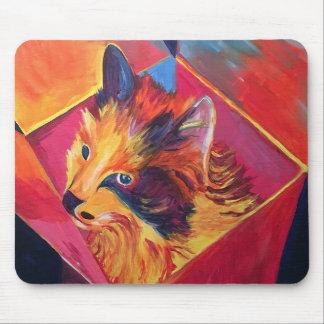 Mousepad Gato do pop art em uma caixa