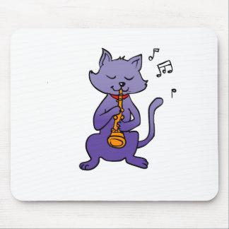 Mousepad Gato dos desenhos animados que joga a flauta