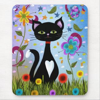 Mousepad Gato em uma arte abstracta do jardim