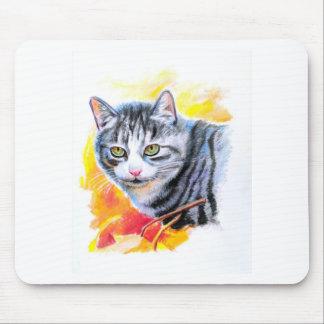 Mousepad Gato listrado cinzento
