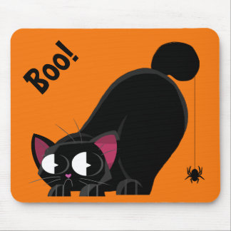 Mousepad Gato preto e aranha do Dia das Bruxas