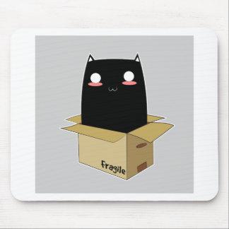 Mousepad Gato preto em uma caixa