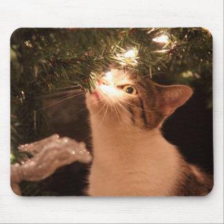 Mousepad Gatos e luzes - gato do Natal - árvore de Natal