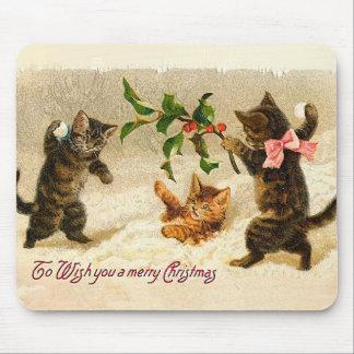 Mousepad Gatos que jogam no natal vintage da neve