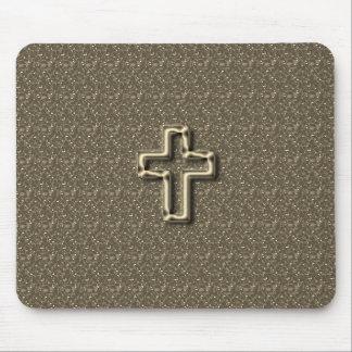 Mousepad Gold-CROSS-Christian-Faith_Churches_Taupe