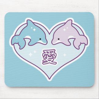 Mousepad Golfinhos do amor de Kawaii