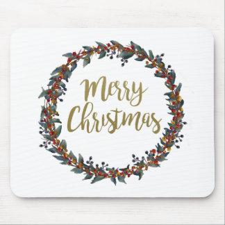 Mousepad Grinalda da aguarela - Feliz Natal - ramos