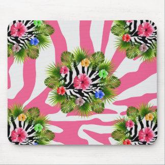 Mousepad Hibiscus tropical e listras cor-de-rosa exóticas