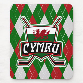 Mousepad Hóquei em gelo Mousemat de Galês, bandeira de