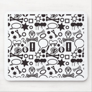 Mousepad Ícones funky preto e branco