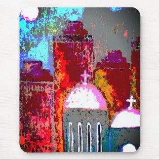 Mousepad Igreja cor-de-rosa da cidade