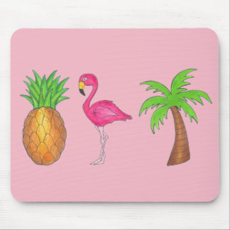 Mousepad Ilha tropical da palmeira cor-de-rosa do abacaxi