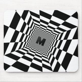 Mousepad Ilusão, monograma ou inicial visual preta & branca