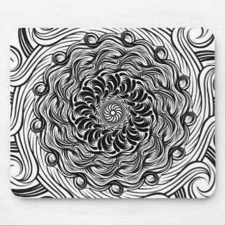 Mousepad Ilusão óptica do Doodle ornamentado do zen preto e