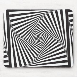 Mousepad Ilusão óptica espiral branca preta bonita