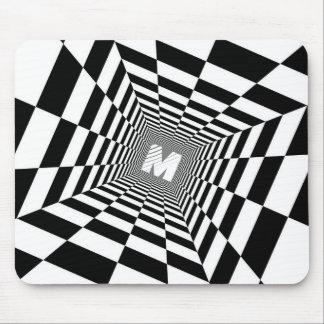 Mousepad Ilusão óptica preta & branca, monograma branco