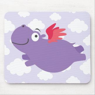 Mousepad Ilustração do hipopótamo do vôo