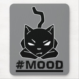 Mousepad Ilustração do logotipo do preto do gato do #MOOD