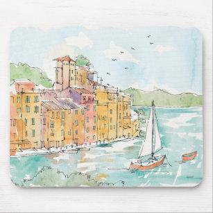 Mousepad Ilustração do porto de Porofino com veleiro
