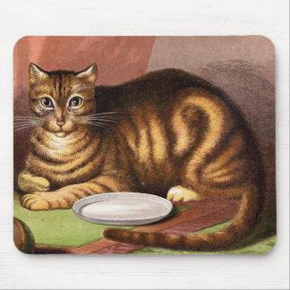 Mousepad Ilustração do vintage do gato de gato malhado do